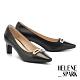 高跟鞋 HELENE SPARK 都會時尚雙色金屬釦小方楦高跟鞋-黑 product thumbnail 1