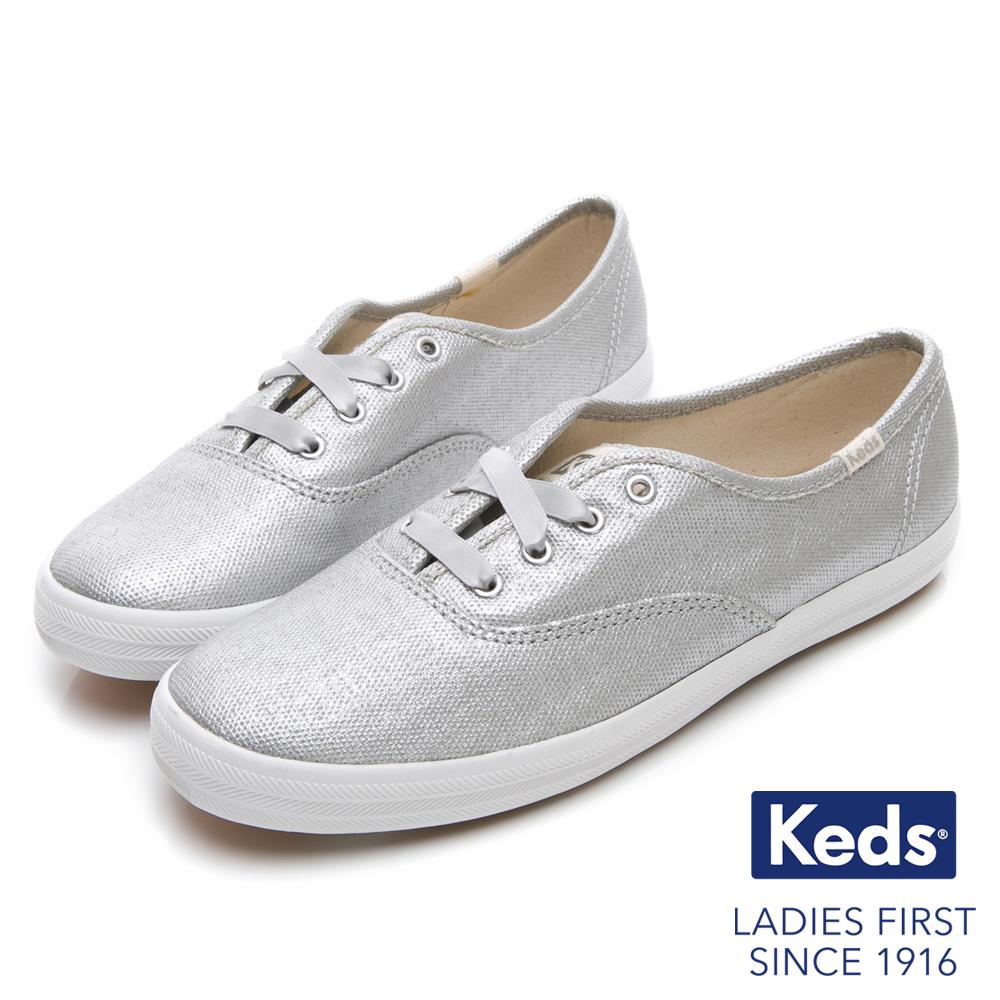 Keds CHAMPION 霧面光澤經典綁帶休閒鞋-銀