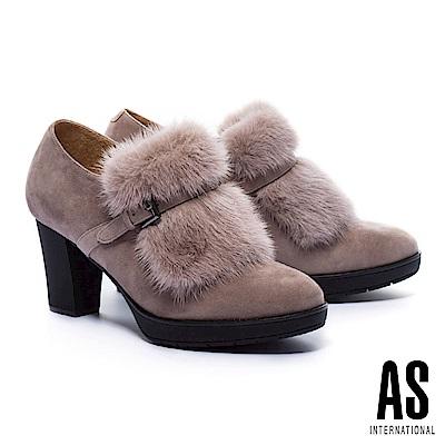 踝靴 AS 奢華暖意水貂毛設計羊麂皮粗跟踝靴-可可