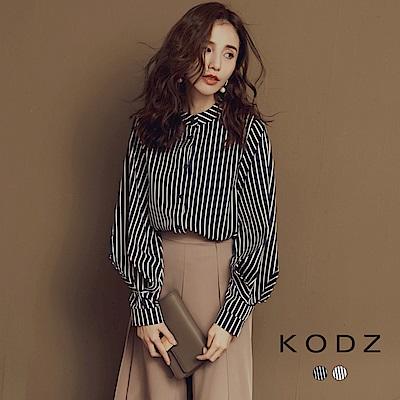 東京著衣-KODZ 辦公室女孩包色款條紋襯衫上衣-S.M.L(共二色)