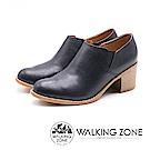 WALKING ZONE 柔軟皮革鬆緊高跟踝靴 女鞋 - 黑 (另有棕 )