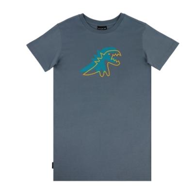 agnes b. - Sport b. 恐龍印花圓領長版短袖上衣(女)(藍)