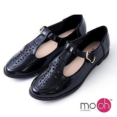 mo.oh-漆皮圓頭T字帶平底娃娃鞋-黑色