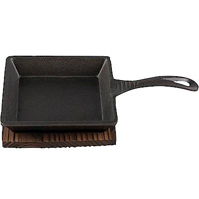 CreativeTops 竹盤+迷你單柄鑄鐵煎烤盤(方13cm)