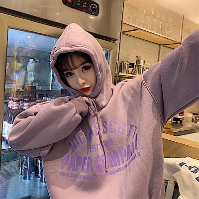 DABI 韓國風連帽寬鬆字母少女長袖上衣