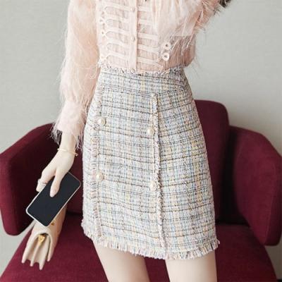 設計所在Lady-小香風短裙高腰A字粗花呢(S-XL可選)