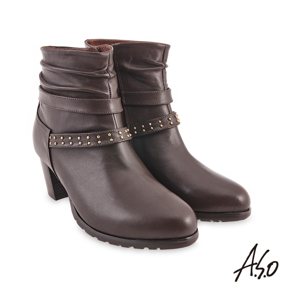 A.S.O  時尚流行 鉚釘穿條個性短靴-咖啡