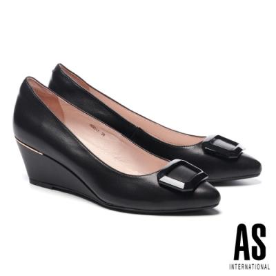 高跟鞋 AS 質感烤漆方釦羊皮尖頭楔型高跟鞋-黑