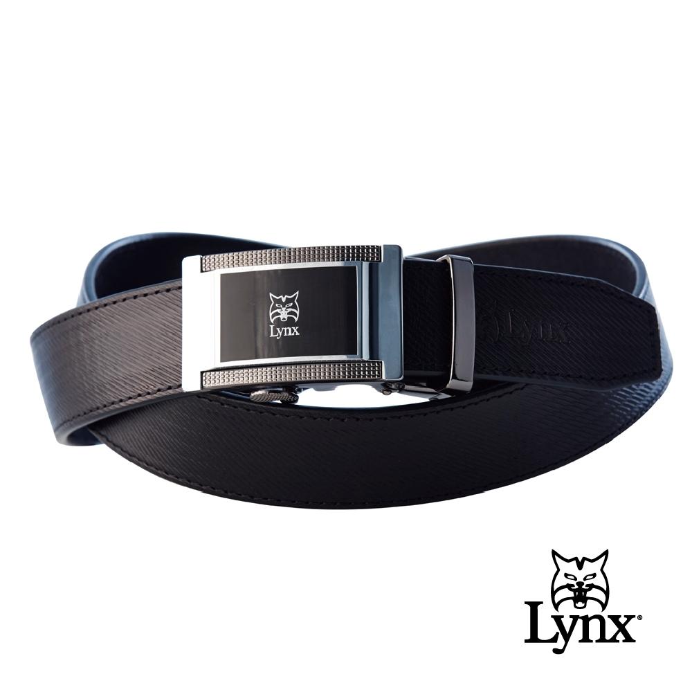 【Lynx Golf】男款經典牛皮斜紋紳士自動皮帶-黑色
