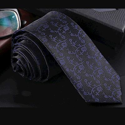拉福   藍紋6CM中窄版領帶拉鍊領帶 (兒童黑底)