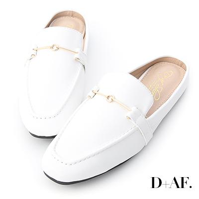D+AF 質感必備.馬銜釦小方頭穆勒鞋*白