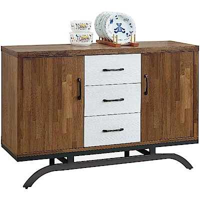 綠活居 帕迪時尚4尺雙色餐櫃/收納櫃-119.5x39.5x82cm免組