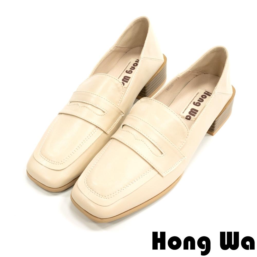 Hong Wa 英倫紳士‧刷舊牛皮扣帶粗低跟樂福鞋 - 米