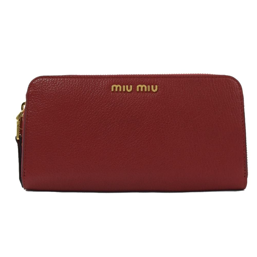 MIU MIU 金屬LOGO山羊皮ㄇ字拉鍊長夾(紅)