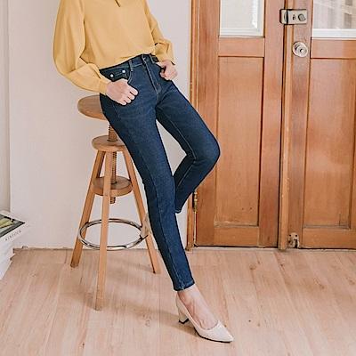 簡約刷色內刷毛保暖牛仔褲-OB大尺碼