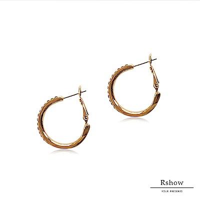 Rshow Hoop Earrings 明星款金屬C型單圈鑽耳環玫瑰金