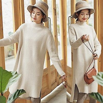 毛衣-花杏灰中長版羊毛兔絨-設計所在