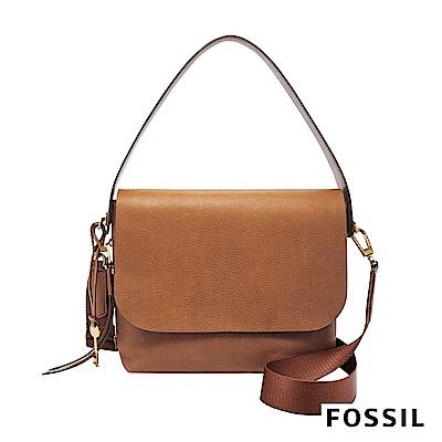 FOSSIL MAYA 柔軟真皮肩背/斜背兩用扁包-駝色