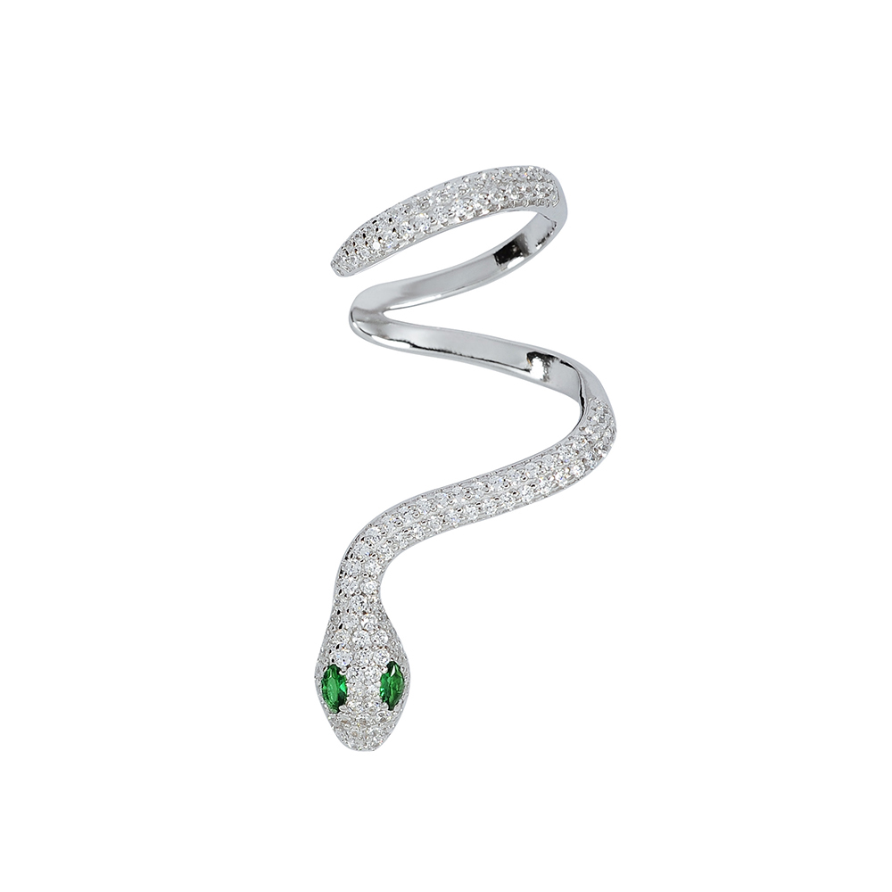 apm MONACO法國精品珠寶 閃耀銀蛇形鑲鋯單邊耳骨夾耳環
