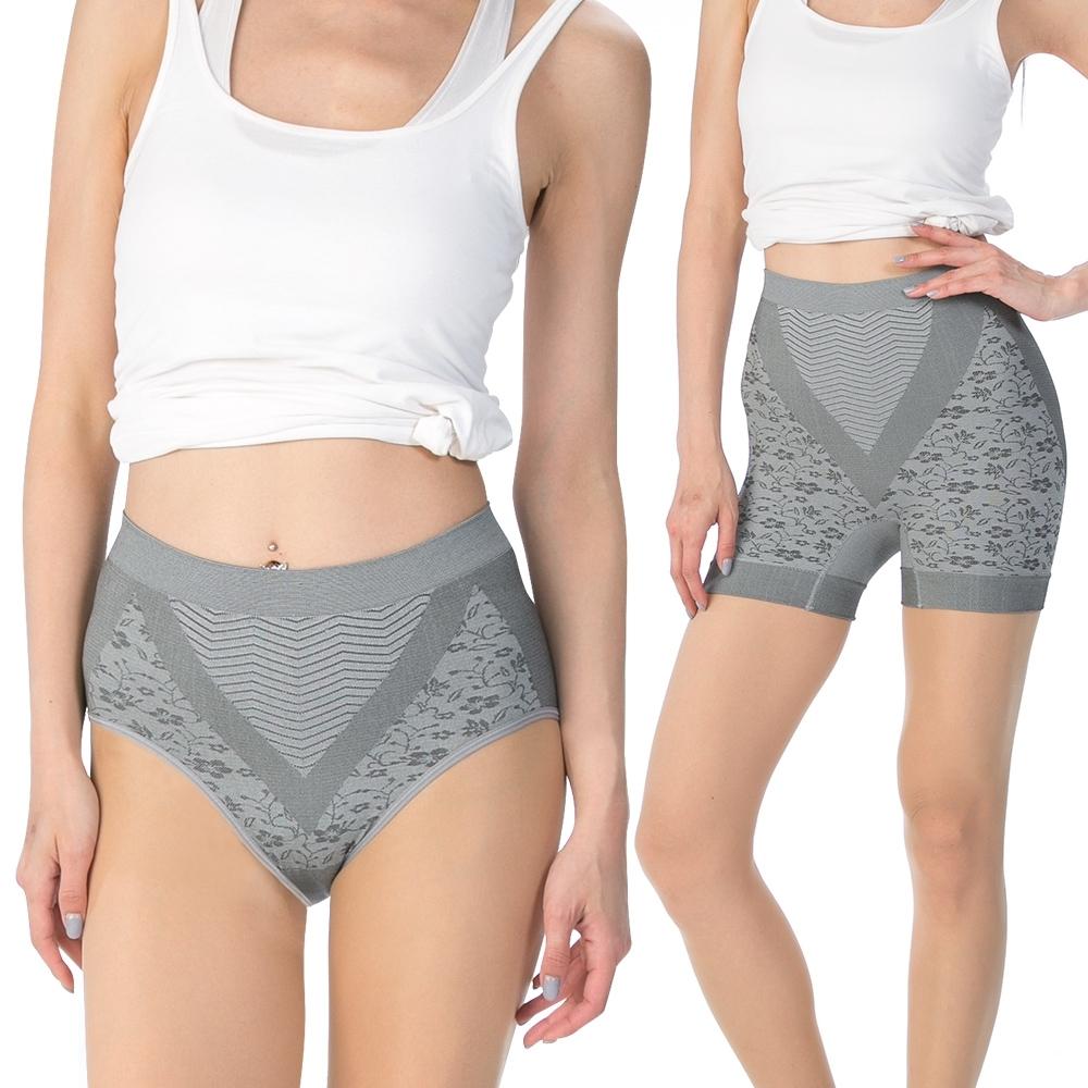【JS嚴選】台灣製竹炭銀纖維無縫提臀內褲(銀纖維褲*1+竹炭褲*2)