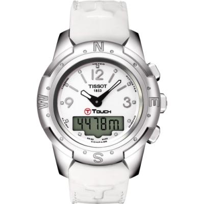 TISSOT T-TOUCH II 鈦真鑽多功能觸控錶-白/42.7mm T0472204601600