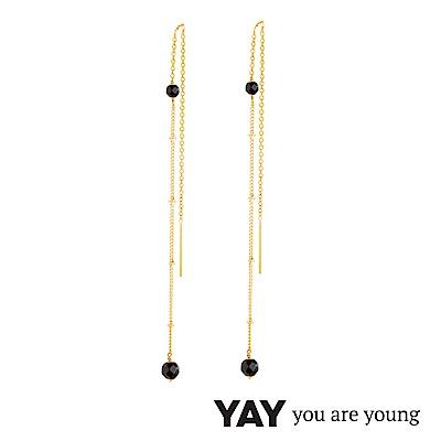 YAY You Are Young Stella 黑曜石耳環 不對稱拉線設計 金色X黑色