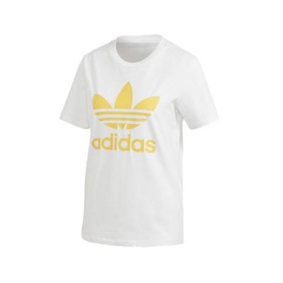 ADIDAS TREFOIL TEE 女短袖上衣-白黃-FM3292
