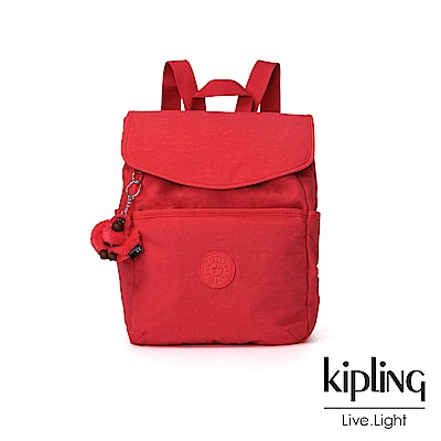 Kipling 亮橘色素面翻蓋後背包-TALMA
