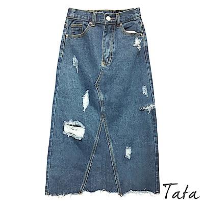 刷破開叉牛仔裙 TATA