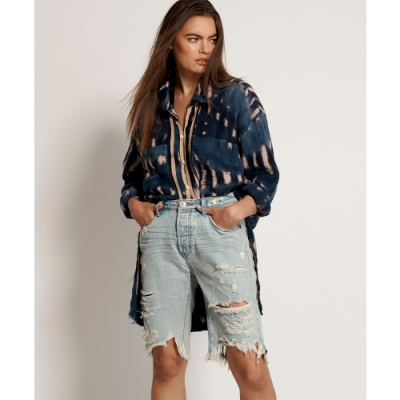 ONETEASPOON WW KANSAS CUT OFF TRUCKERS MID WAIST LONG LENGTH SHOR 牛仔短褲- 女(藍)