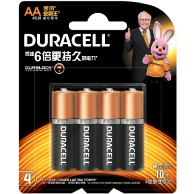 Duracell金頂鹼性電池 3號AA(4入)