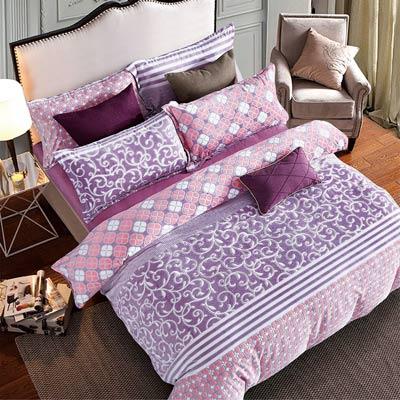 羽織美 紫蘊花蔓 雕花水晶絨加大鋪棉床包被套組