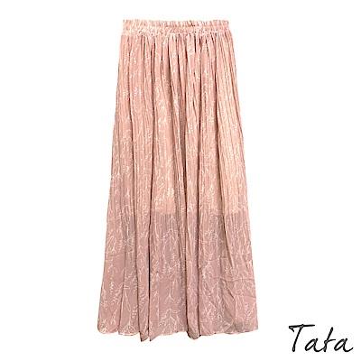 線條印花雪紡百褶長裙 共二色 TATA