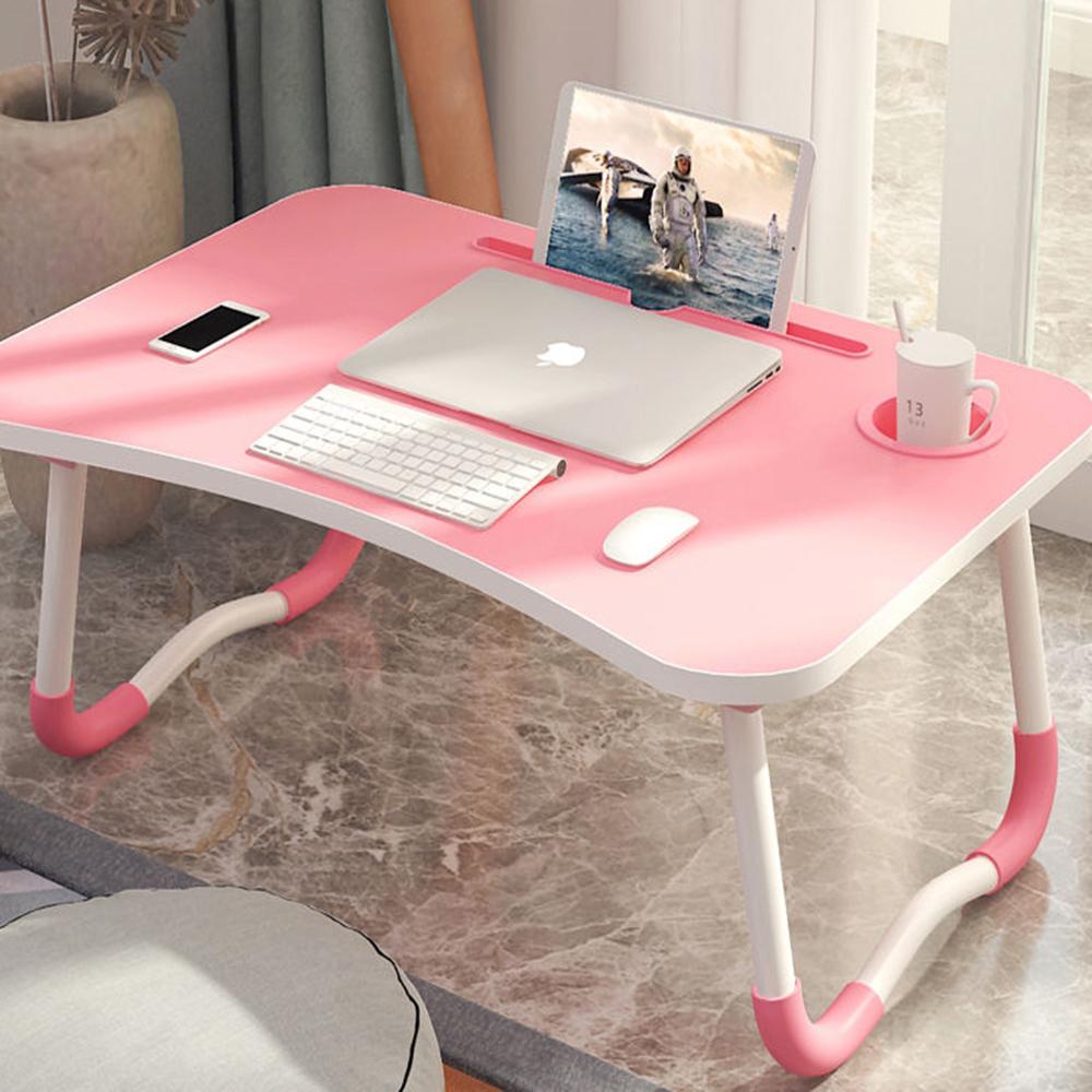 【時時樂限定】攜帶式簡約時尚床上電腦桌/摺疊桌/和式桌(附 I Pad 卡槽設計/杯架)