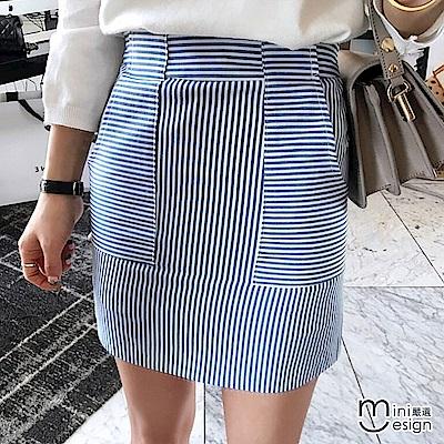 條紋大口袋高腰A字包臀短裙-mini嚴選