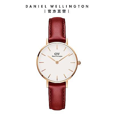 【Daniel Wellington】官方直營 Petite Suffolk 28mm經典紅真皮皮革錶 DW手錶