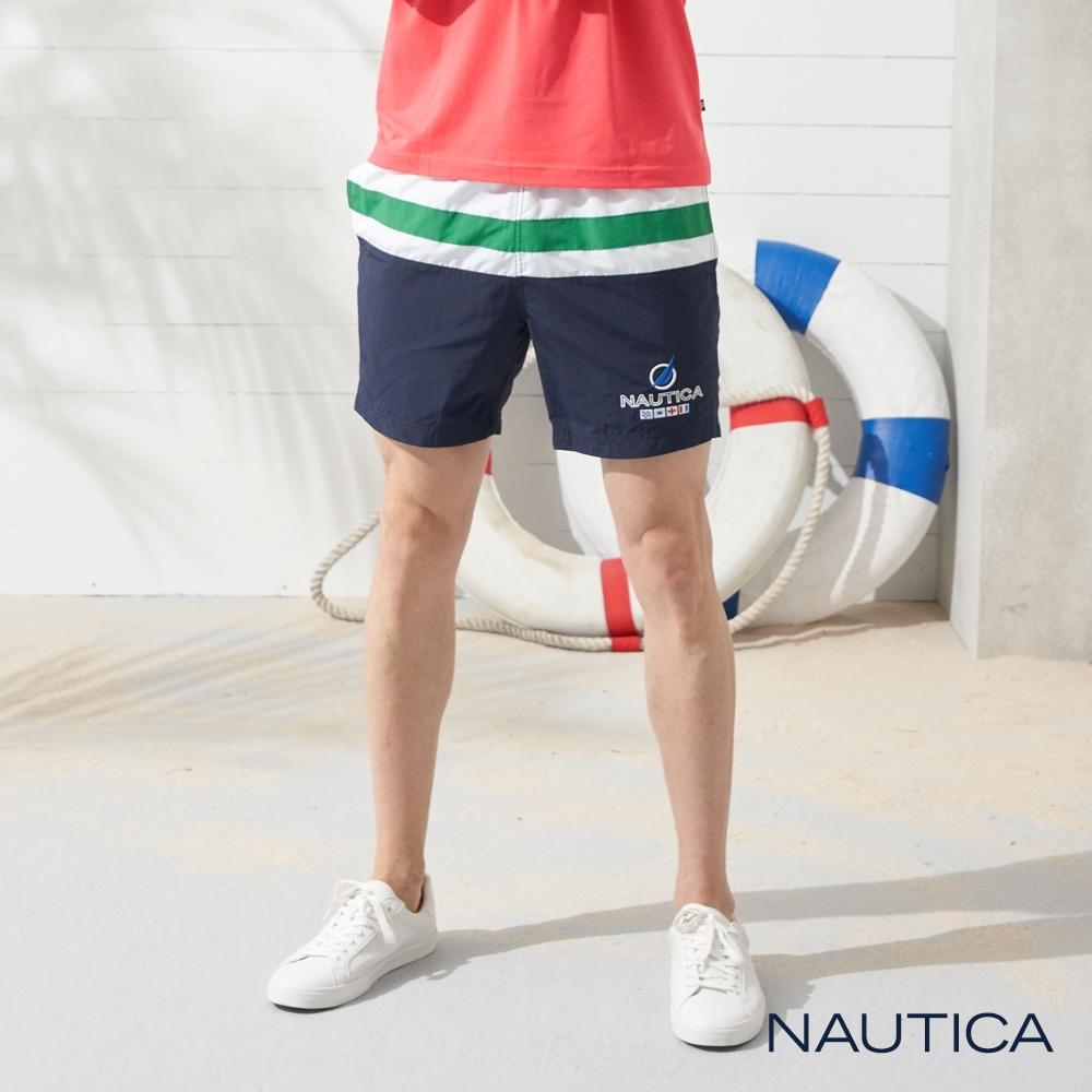 Nautica經典拼接五分海灘褲-深藍