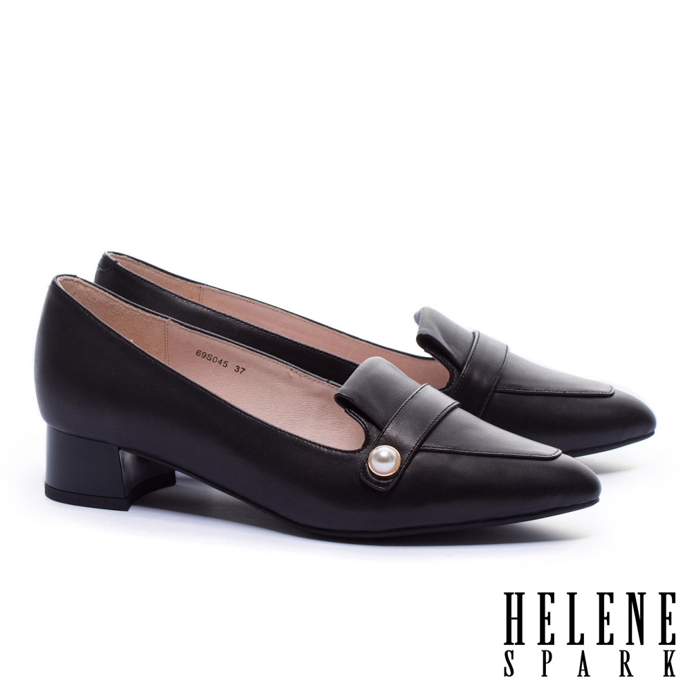 低跟鞋 HELENE SPARK 復古知性典雅珍珠羊皮樂福低跟鞋-黑