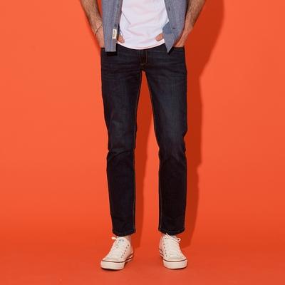 【JOHN HENRY】復古直筒修身牛仔褲-藍