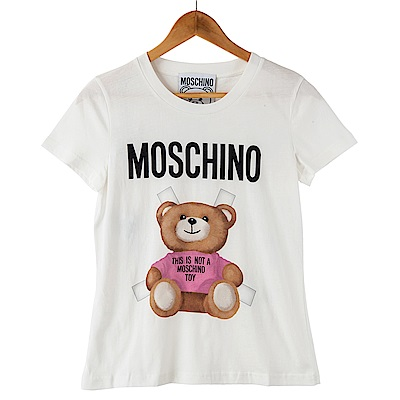 MOSCHINO 經典合身版粉紅叉叉小熊圖案短T (粉紅)