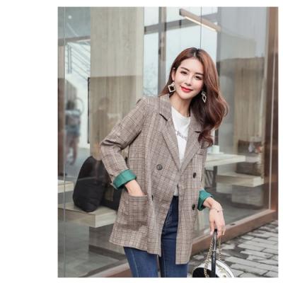 2F韓衣-韓系時尚格紋西裝外套-咖啡(S-2XL)