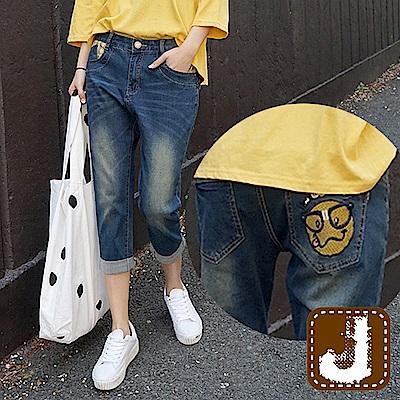 正韓 俏皮刺繡刷色牛仔七分褲-(水洗藍)100%Korea Jeans