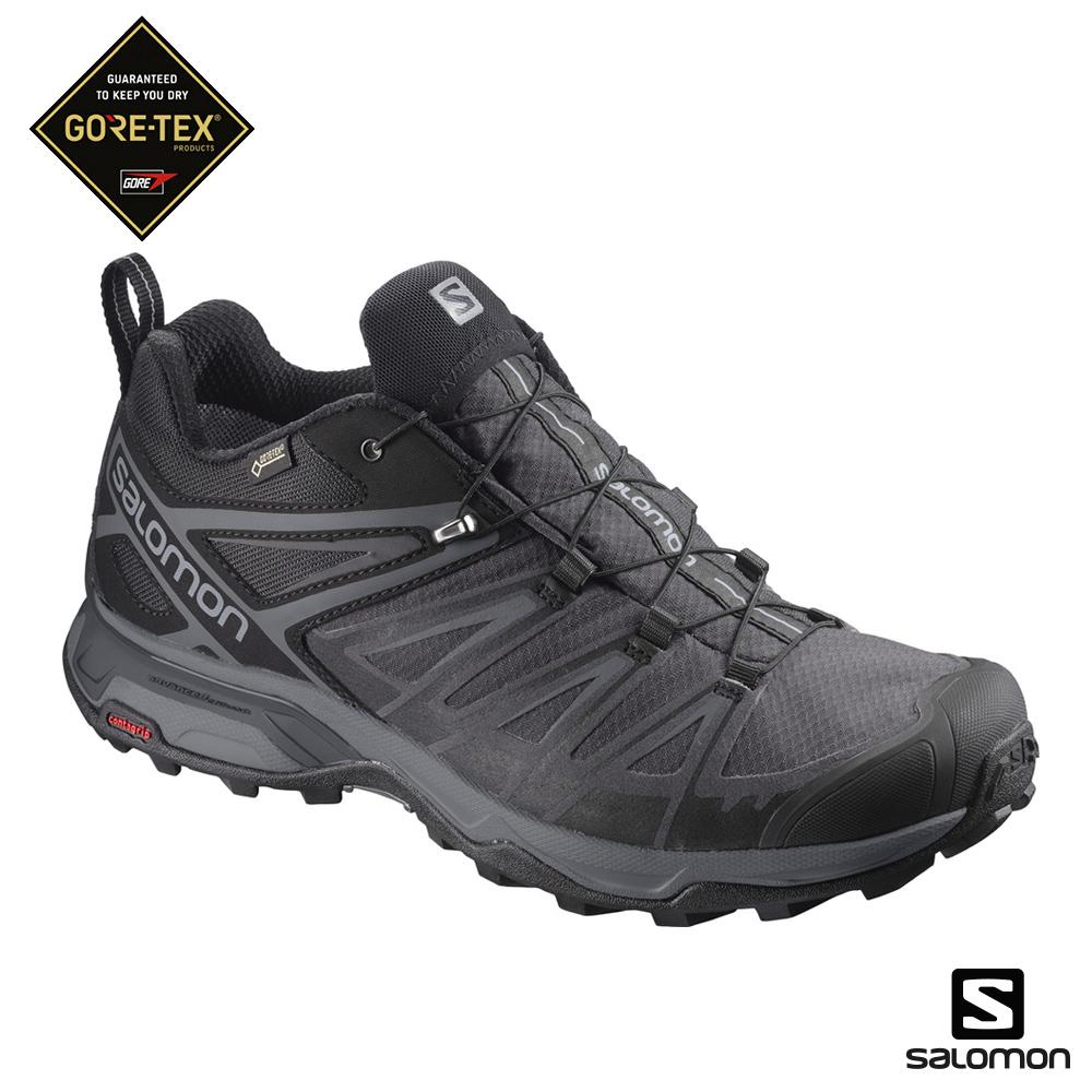 Salomon 低筒登山鞋 寬楦 GORETEX 男X ULTRA 3 黑