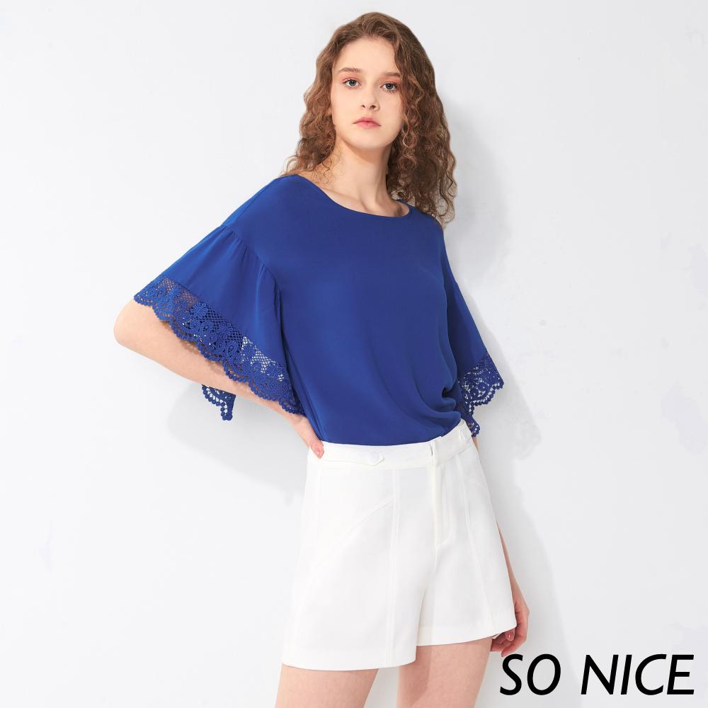 SO NICE時尚蕾絲造型袖雪紡上衣