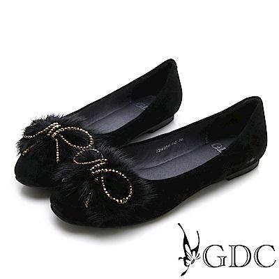 GDC-真皮早秋復古毛絨蝴蝶結平底包鞋-黑色