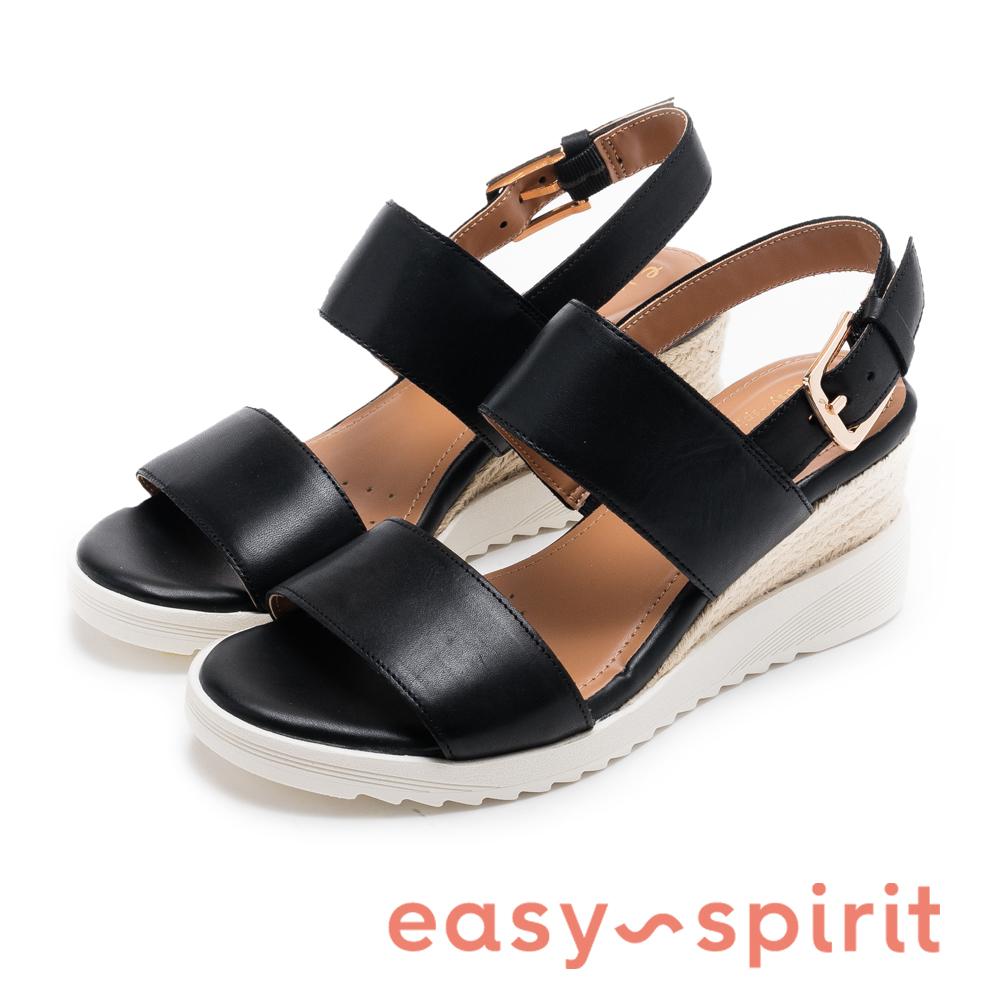 Easy Spirit evZEN 寬帶後繫帶高跟楔型涼鞋-黑色