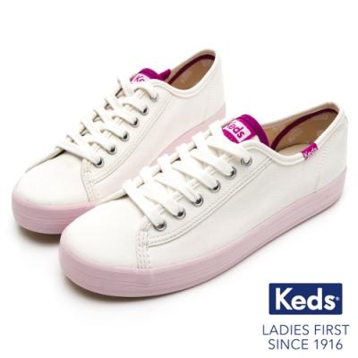 Keds KICKSTART 清新撞色綁帶休閒鞋-奶油白