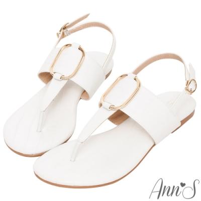 Ann'S石頭紋金環拉帶夾腳平底涼鞋-白(版型偏小)