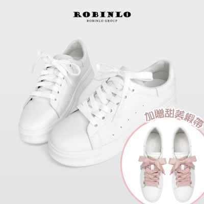 Robinlo雙綁帶甜美蝴蝶結真皮小白鞋 白