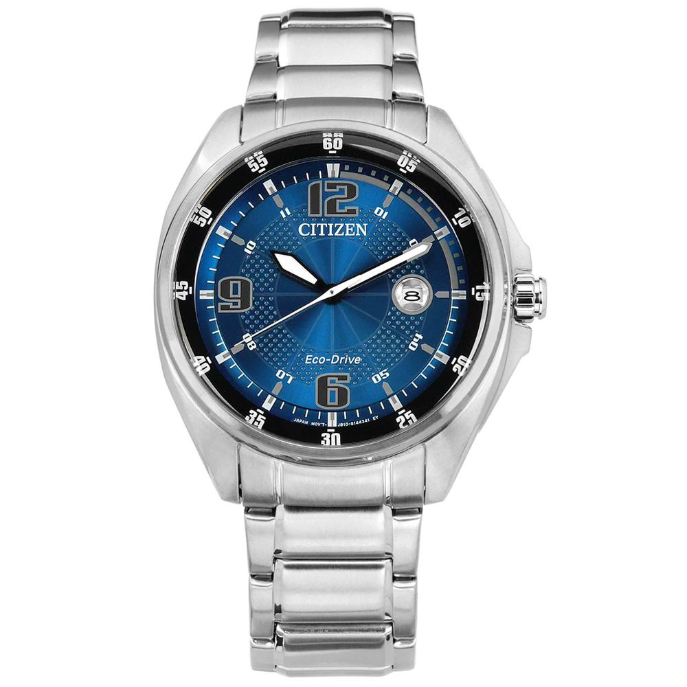 CITIZEN 光動能 日期 礦石強化玻璃 防水100米 不鏽鋼手錶-藍色/42mm @ Y!購物